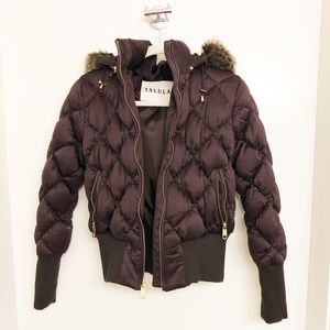 Talula BROWN Down Filled Quilted Bomber Jacket